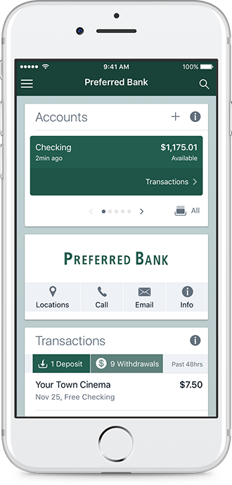 An iPhone showing off the interface of the Preferred Bank App.